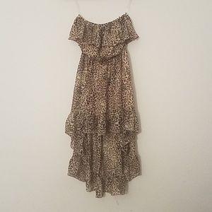 Leopard print high low dress